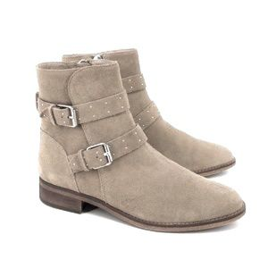 BP. Riley Taupe Suede Leather Buckle Ankle Boots